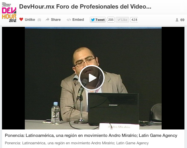 Andro Miralrio de Latin Game Agency en el ultimo Devhour.mx